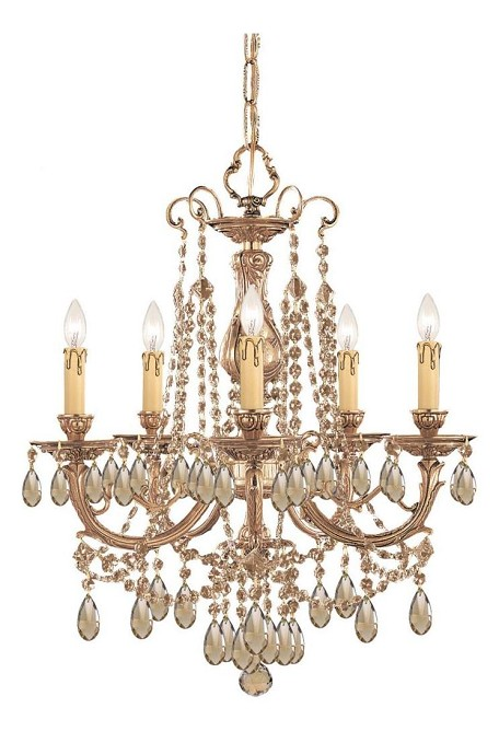 "Etta Collection 5-Light 20"" Olde Brass Mini Chandelier with Golden Teak Swarovski Elements Crystal 475-OB-GTS"