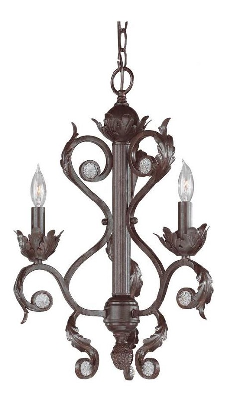 "Winslow Collection 3-Light 15"" Dark Rust Mini Chandelier 6803-DR"