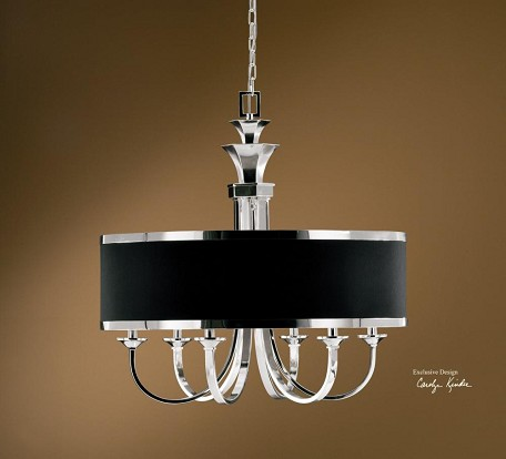 Silver Plated 6 Light Single Tier Chandelier from the Tuxedo Collection