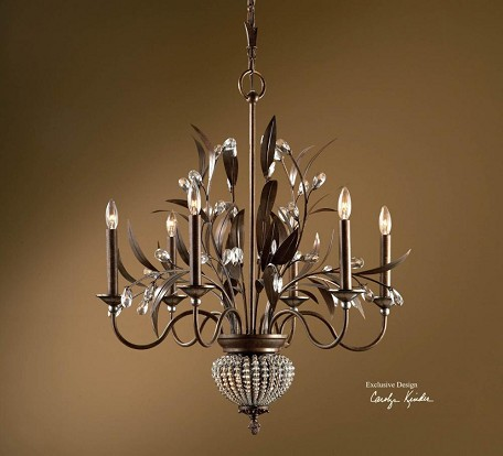 Golden Bronze 6 Light Single Tier Chandelier with 2 Down Lights from the Cristal De Lisbon Collection
