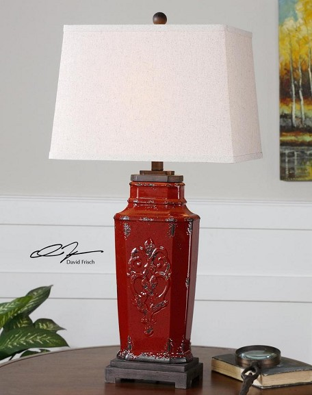 Deep Red With Rust Brown Centralia 1 Light Table Lamp