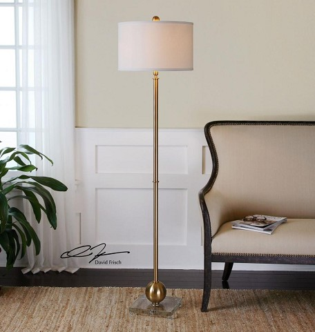 Brass And Crystal Laton Floor Lamp with Round Shade