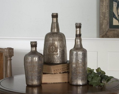 Silver Mercury Glass with Brass Wire Lamaison Mercury Glass Bottles, Set of Three