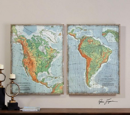 Print over Woven Burlap The Americas 32in.W x 42in.H Paintings - Set of 2
