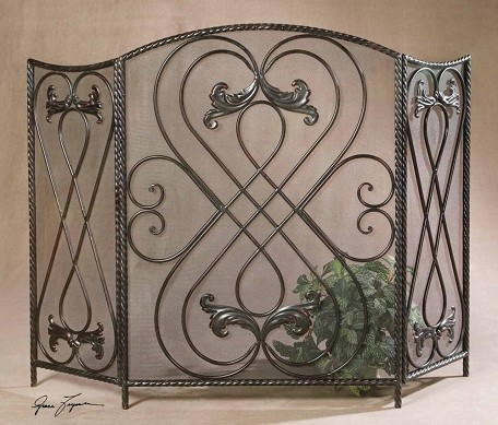 Aged Black With Chestnut Brown Effie Large Scroll Design Fireplace Screen