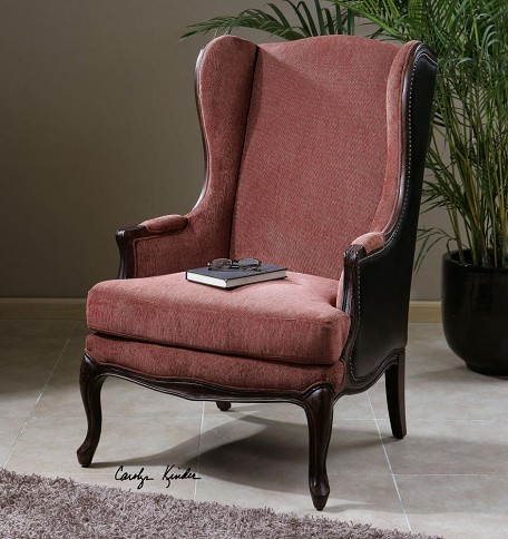 Wood And Chenille Skipton Faux Leather Chair