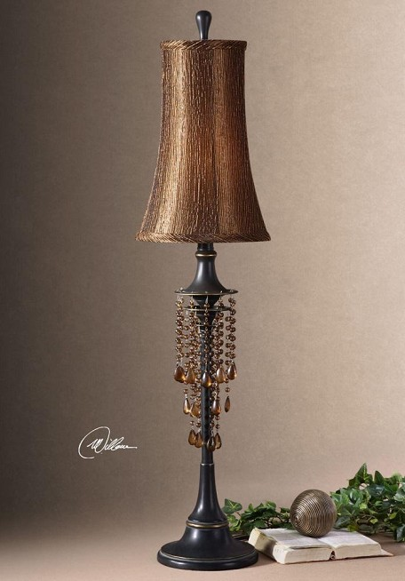 Distressed Bronze Single Light Down Lighting Ornamented Post Table Lamp from the Ellenton Collection