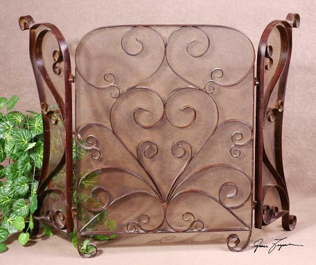 Lightly Distressed Cocoa Brown With Light Tan Glaze Daymeion Hand Forged Metal Fireplace Screen