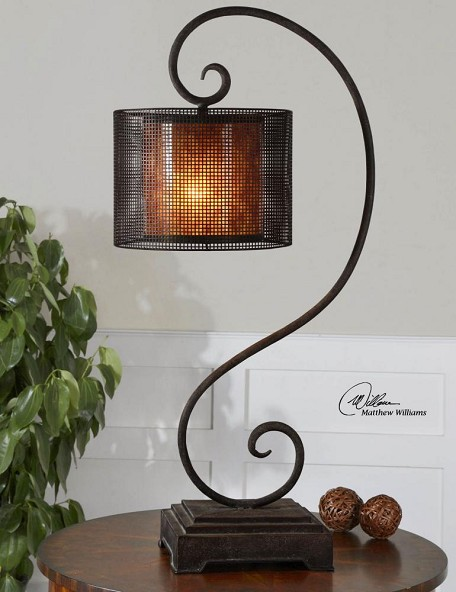 Rustic Dark Bronze Dalou Scroll Lantern Table Lamp
