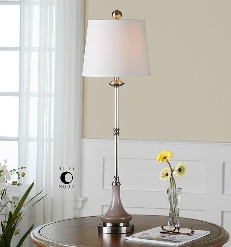 Gray Glass And Brushed Aluminum Kerman Buffet Lamp with Round Shade