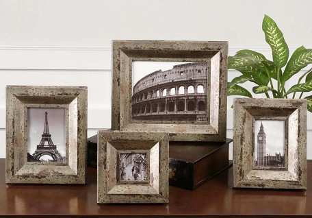 Champagne Silver and Black Camber Photo Frames Set of 4