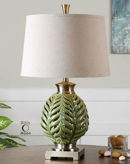 Crackled Lime Green Flowing Fern Green Table Lamp
