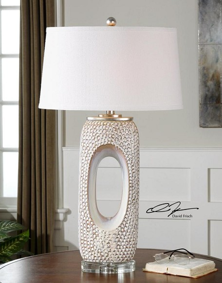 Distressed Ivory Glaze With Blue Beige Carbonado 1 Light Table Lamp