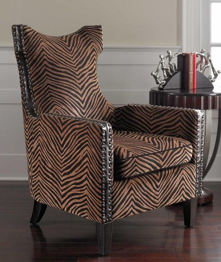 Plush Golden Brown And Black Stripe Kimoni Contemporary Shaped Back Armchair