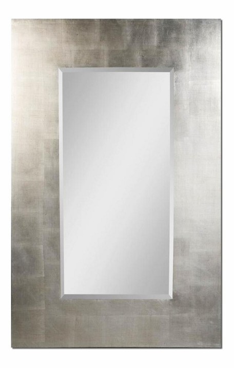 "Rembrandt 36"" High Light Antiqued Silver Leaf Mirror 14456"