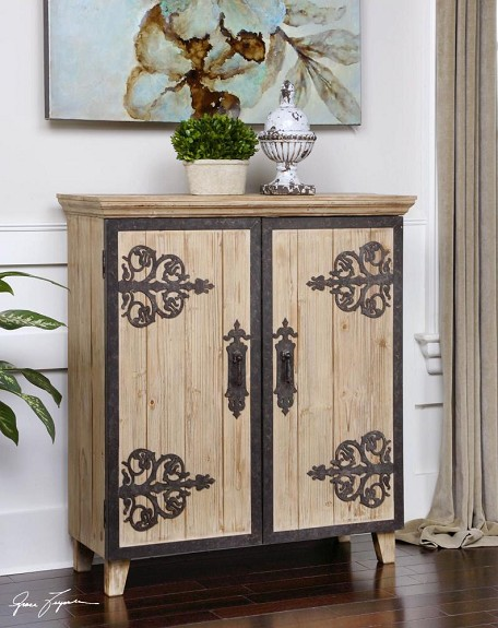 Natural Wood Abelardo Rustic Console Cabinet