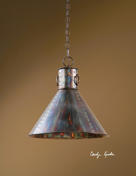 "Albiano Collection 1-Light 15"" Oxidized Bronze Mini Pendant 21923"