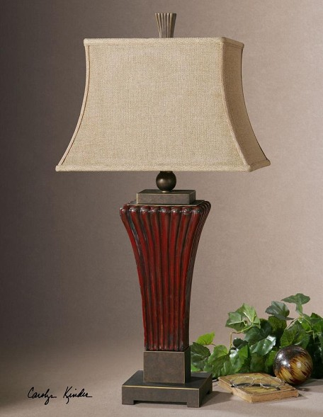 Uttermost Rosso Ribbed Ceramic Lamp - 26465