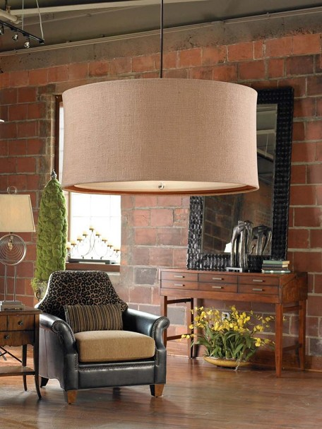"Alamo Collection 3-Light 28"" Antique Burlap Pendant with Chocolate Bronze Liner Shade 21932"