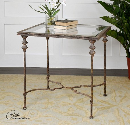 Uttermost Quillon Glass End Table - 24365