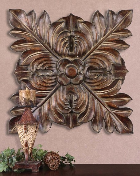 Chestnut Brown Four Leaves Carved-Look Metal Wall Plaque