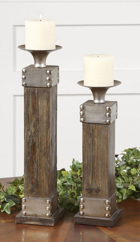 Natural Wood Lican Set of 2 Candle Holders