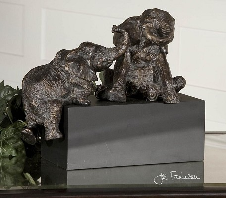 Antique Bronze Playful Pachyderms