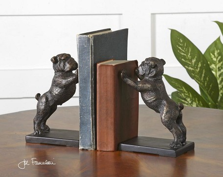 Antique Golden Bronze Bulldogs Set of 2 Book End