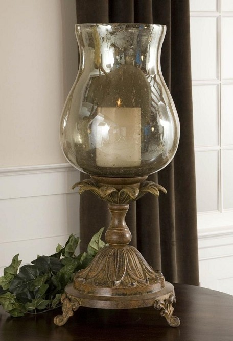 Aged Black Chandell Candleholder with Glass Globe