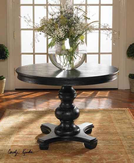 Satin Black Pine Brynmore Wood Grain Round Table