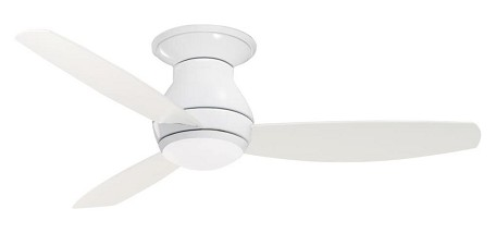Appliance White Curva Sky 52in. 3 Blade Ceiling Fan - Blades and Light Kit Included