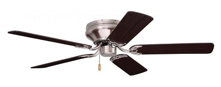 "Snugger Collection 42"" Brushed Steel Ceiling Fan with Dark Cherry/Mahogany Blades CF804SBS"