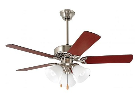 "Pro Series II Collection 42"" Brushed Steel Ceiling Fan with Maple/Natural Cherry Blades and Alabaster Swirl Light Kit CF710BS"
