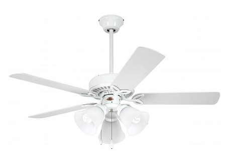 "Pro Series II Collection 42"" Appliance White Ceiling Fan with Appl. White/Bleached Oak Blades and Alabaster Swirl Light Kit CF710WW"