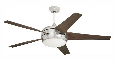 "Midway Collection 54"" Brushed Steel Ceiling Fan with Midnight Bordeaux Blades and Opal Matte Light Kit CF955BS"