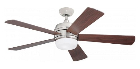 "Atomical Collection 52"" Brushed Steel Ceiling Fan with Natural Cherry Blades and Opal Matte Light Kit CF930BS"
