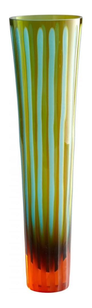 Cyan Blue and Orange 11.5in. Large Cyan And Orange Striped Vase