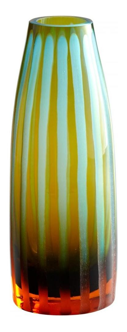 Small Cyan And Orange Striped Vase 01129