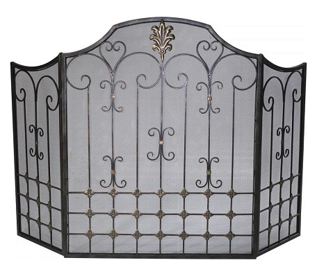 Bronze with Gold Accents 32.25in. Bronze Fire Screen