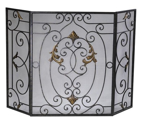 Rust with Gold Accents 32.25in. French Fire Screen