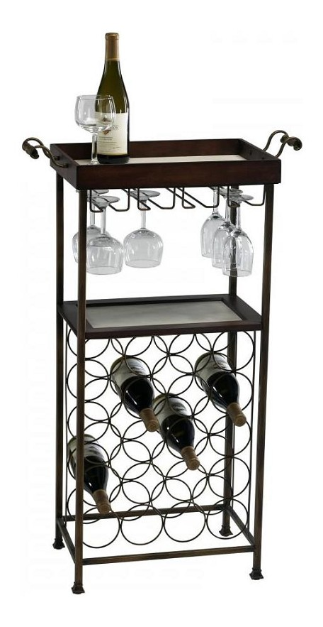 Mahogany And Copper 40.5In. New York Wine Stand