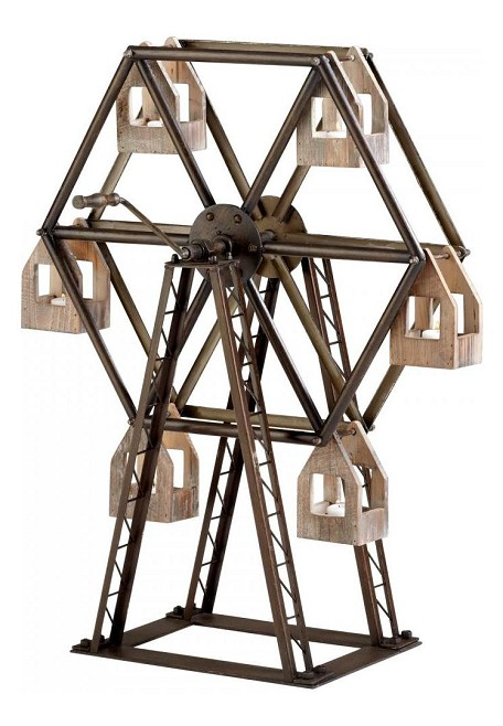 Raw Iron and Natural Wood Ferris Wheel Candleholder