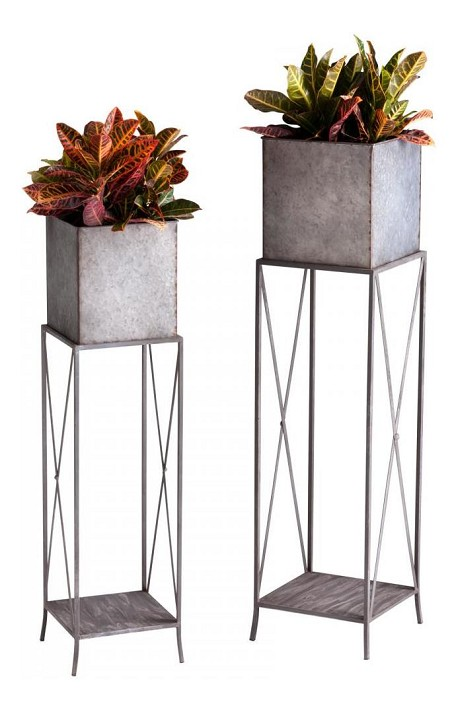 Rustic Iron 48In. Newton Planters 2 Piece