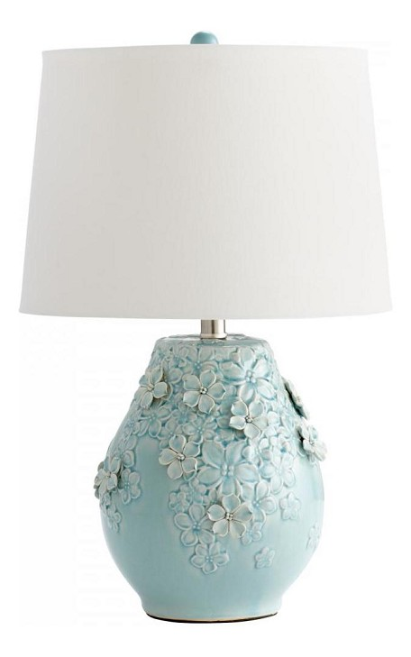 Cyan Designs One Light Sky Blue Glaze White Fabric And White Lining Shade Table Lamp - 05299