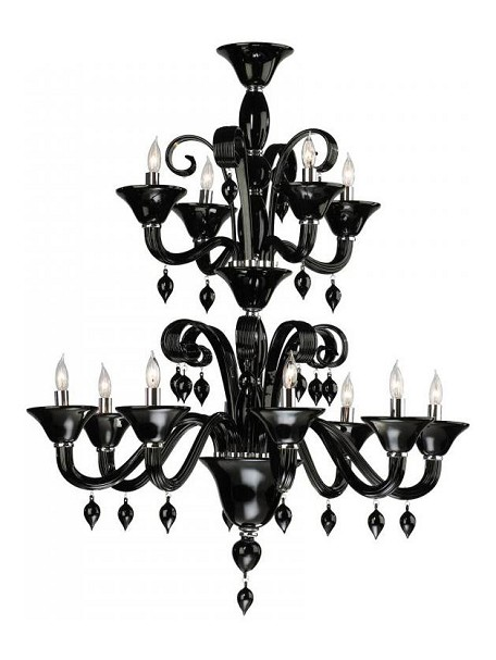 Twelve Light Chrome Black Murano Glass Up Chandelier