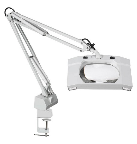 Clip Lamp - DMAG-1-AA Illuminated Fluorescent Magnifier - White