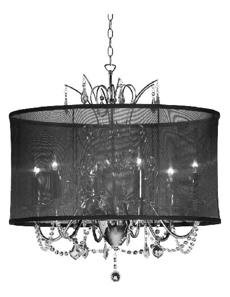 "Shaded Light Design 5-Light 20"" Crystal Chandelier with Black Organza Shade"