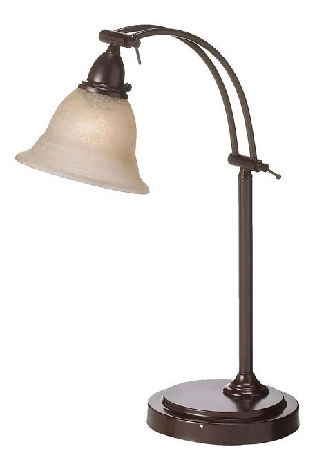 "Metal 1-Light 23"" Espresso Table Lamp with Champagne Frosted Glass Shade DM314-ES"