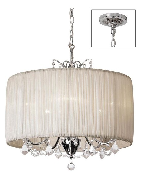 "Shaded Light Design 5-Light 20"" Crystal Mini Chandelier with Oyster Gathered Pleated Organza Shade SKU# 372983"