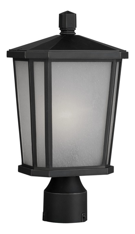 One Light Oil Rubbed Bronze Interior-White, Outer-Etched Glass Post Li